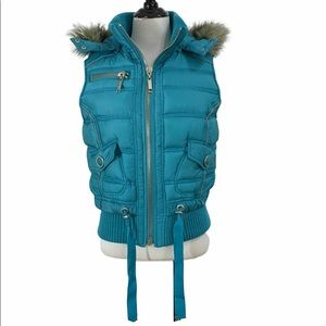 Big Chill Turquoise Puffer Vest Faux Fur Hood New